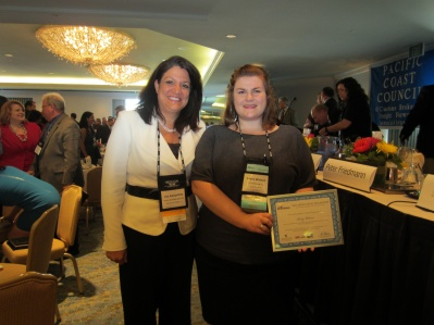 Lisa & Lacey: Lisa Gelsomino of Avalon Risk Management in Chicago & Lacey Watson of International Brokerage Inc. in Seattle (scholarship winner)